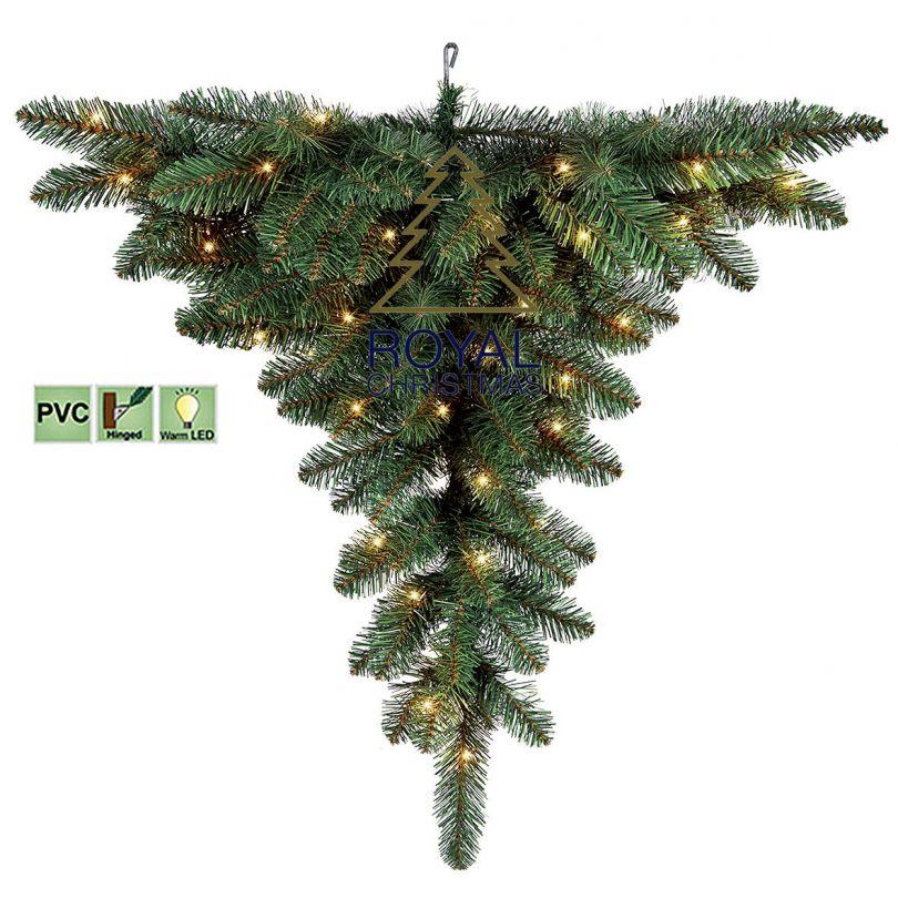 Upside Down Ceiling - Artificial Christmas Tree - Warm LED lighting - 4 feet / 120 cm - Upside ...